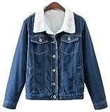 Trendy XU Women Dark Blue Short Style Sherpa Lined Jean Coat Button Denim Jacket (S)
