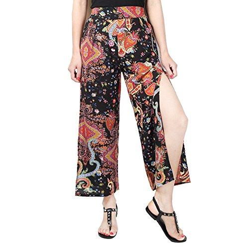 Pantalon Femme Ete Pantalons vass Mousseline - Femmes Marlne Pantalons Taille Haute Fleurs Imprimer Long Moderne Pantalons lgant Bootcut Pantalon Hibote Noir