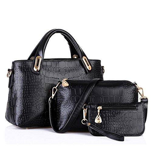 Messenger FDelinK 3 Bag Womens Pcs Handbags Set Hobo Satchel Purses Bags Leather Tote Black and Shoulder w7Awf