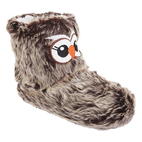 Zapatillas de estar por casa de pelo con diseño de búho para mujer Marrón
