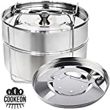 Cookeon Stackable Insert Pans with Sling - Instant Pot Inner Accessories for 5,6,8 Qt- Pressure Cooker Food Steamer- Pot-in-Pot Cooking & Baking - Casseroles - Lasagna Pans - Interchangeable Lids