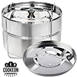Cookeon Stackable Steamer Insert Pans with Sling- Instant Pot Accessories 6/8 qt- Pressure Cooker Stainless Steel Food Steamer- Pot in Pot Cooking, Baking, Lasagna Pan, Casseroles-Interchangeable Lids