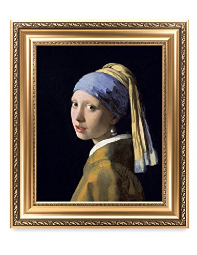 DECORARTS - Girl with A Pearl Earring by Johannes Vermeer. The World Classic Art Reproductions. Giclee Print with Matching Museum Frame, 16x20, Finished Size: 22x26 (Johannes Vermeer Girl With A Pearl Earring Value)