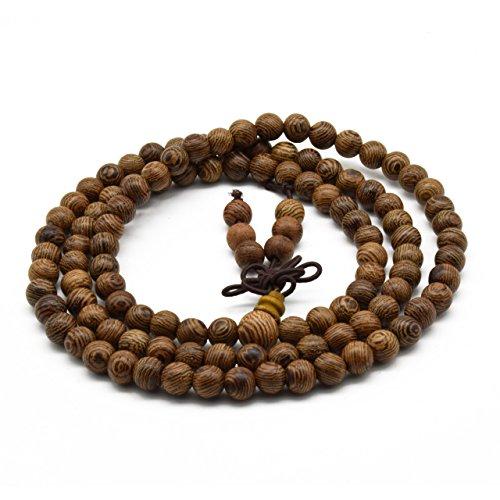 - Zen Dear Unisex Natural Wenge Wood Mala Prayer Beads Necklace Bracelet Meditation Buddhist Rosary Mala Beads (6mm 108 Beads)