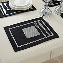 12x16 Inches Black Placemats with Sequined Rhinestone