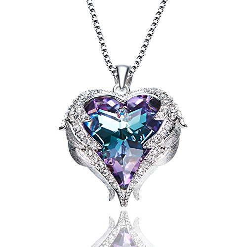 M.LOVE❤️Valentine's Day Gift❤️Guardian Angels Crystal Pendant Necklace Sterling Silver Women Jewelry Crystal Necklace Made with Swarovski Crystals for Girlfriend Daughter Wife - Swarovski Necklace Charm Crystal