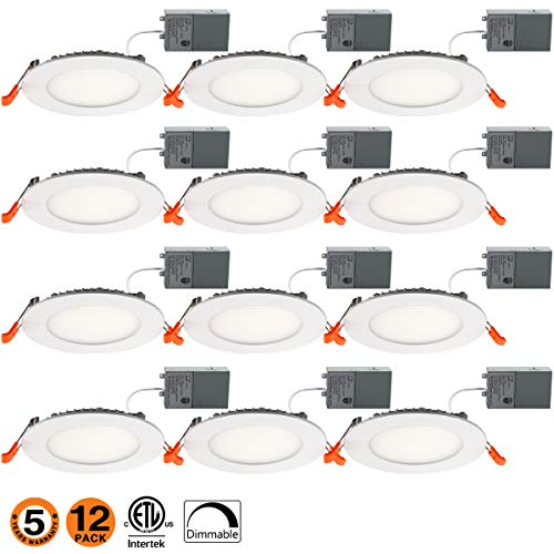 4 Inch Slim Led Downlight 9W Dimmable 65W Equivalent ETL Listed 650LM 5000K Junction Box Recessed Lighting E-12PK-50k