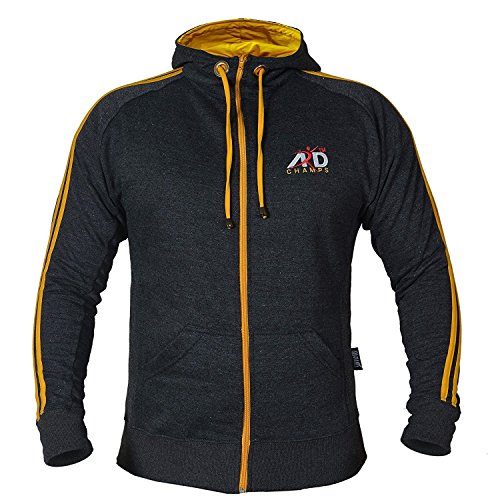 - ARD CHAMPS Fleece Full Zip Hoodie Sweatshirt Top MMA Running Jogging S to 3xl (Charcoal, large)