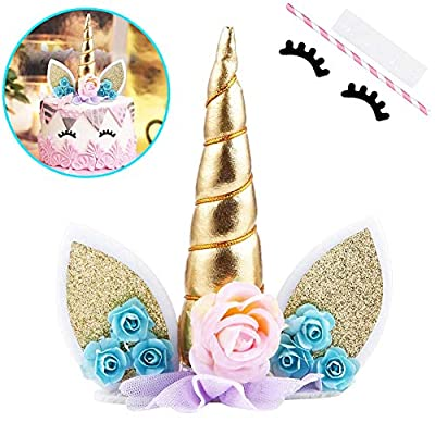 MAXHOPE Unicorn Cake Topper with Eyelashes Party Cake Decoration Supplies for Birthday Party, Wedding, Baby Shower, 5.8 inch