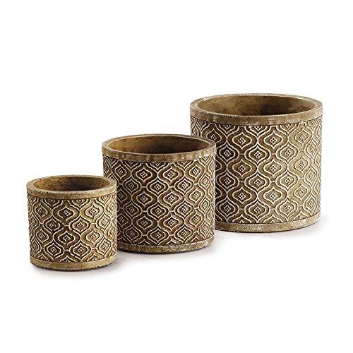 (Napa Home & Garden Segovia Round Cachepots, Brown/White, Set of)
