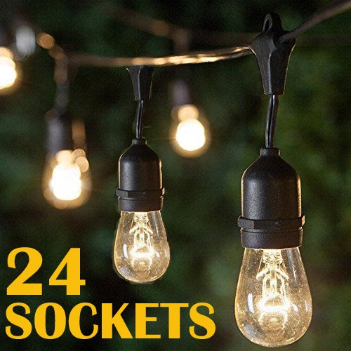 48Ft Outdoor Weatherproof String Lights with 24 Sockets E26 Base & 26 11W S14 Warm Bulbs, Commercial Grade Heavy Duty Light String for Patio, Bistro, Backyard, Black