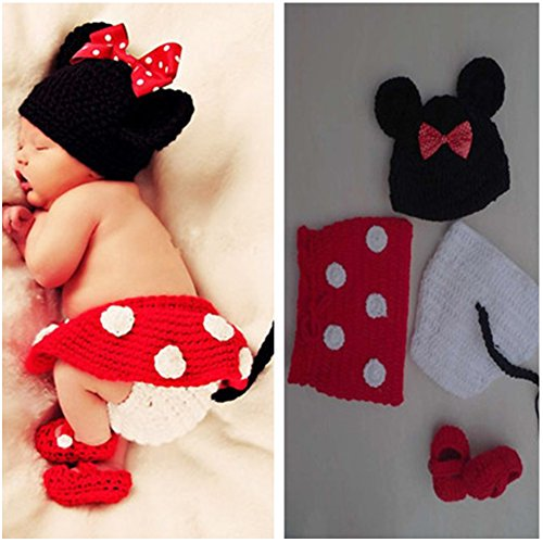 Space PH Newborn Baby Girl Boy Crochet Lovely Hat Photography Prop Outfit Set - Baby Girl Outfits With Shoes