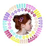 QtGirl Snap Star Hair Clips Metal Hair Barrettes for Little Girl, 72 Pcs Non Slip Mini Hair Clip for Toddler Girls Kids and Woman
