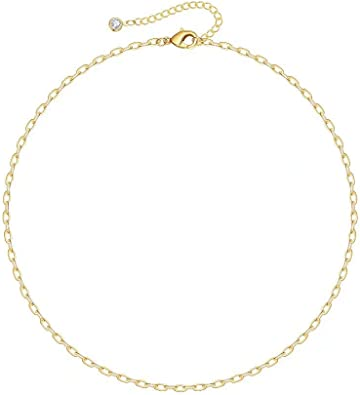 14K Gold Plated Dainty Oval Link Chain Necklace Bracelet Anklet Paperclip Chain Gold Jewelry for Women Girls IEFSHINY Gold Paperclip Link Chain Necklace Bracelet Anklet