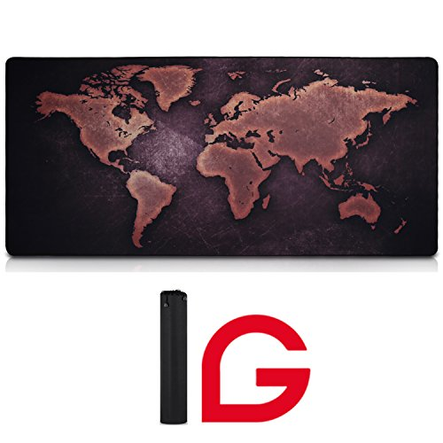 Map Large Mouse Pad Vintage Black World Map Antiqued GLTECK XXL Large Mouse Mat Desk Pad 35.4''x15.7'' Non-Slip Rubber Mice Pads Stitched Edges With Carry Bag