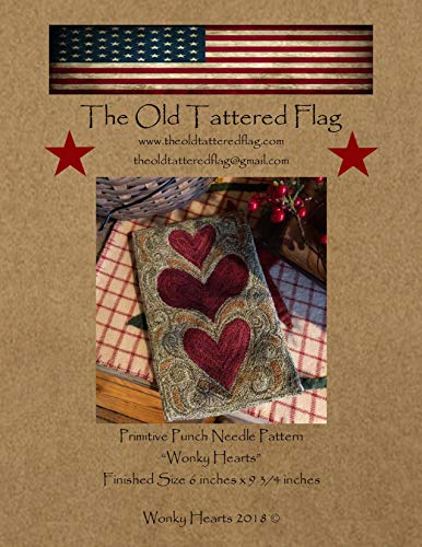 Wonky Hearts Primitive Punch Needle Pattern