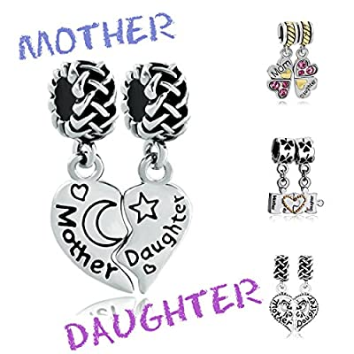 Mother Daughter Puzzle Heart Butterfly Charm Bead Fits Pandora Charms Bracelet
