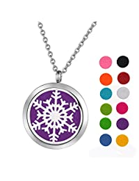 """Reindeer Snowflakes Aromatherapy Essential Oil Diffuser Necklace Stainless Steel Perfume Locket 24"""" Chain + 12 Refill Pads"""