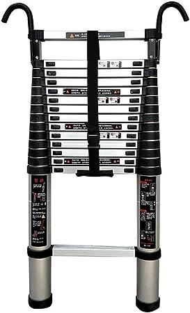 SYEA Escalera escamoteable Las escaleras telescópico Desmontable con Gancho, peldaño Inferior y estabilizador, Aluminio Extensión telescópica Escalera, 440 LB Gran Capacidad de Carga, fácil de Llevar: Amazon.es: Hogar