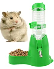 125ml/4oz Hamster Water Bottle with Food Dish Hanging Water Bottle with Base for Dwarf Hamsters Mice Small Animals Cages