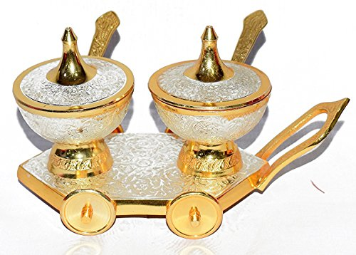 Diwali Gift Antique Brass Gold and Silver Plated Pure Brass Engraved Premium Set of 2 Trolley Bowl Set and Spoons With Red Velvet Box .Modern and Traditional Home Decor Themes.Perfect Christmas Gift ()