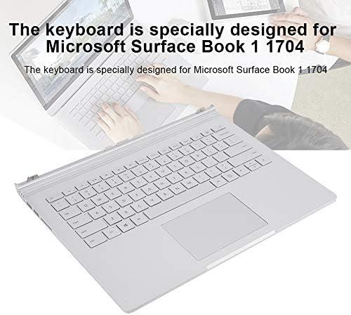 Wendry Tastiera, Tastiera da Ufficio Portatile Sostituzione Tastiera Multifunzione per Microsoft Surface Book 1 1704, Argento