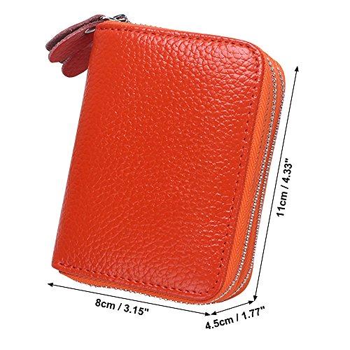 Blue Leather Womens Card Soft Case Cckuu Money Deep Wallet Orange Zipper Multi Pocket Organizer q7wB6ZE