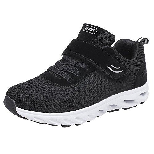 Leider Tonen Vrouwen Casual Middelbare Leeftijd Veiligheid Lopen Sneakers Lichtgewicht Velcro Comfort Schoenen Zwart