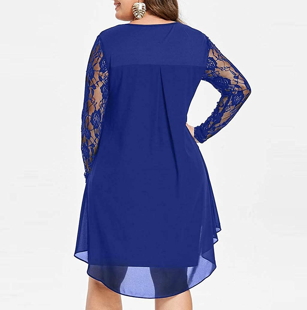 Nevera Womens Long Sleeve High Low Casual Pleated Loose Swing T-Shirt Dress Plus Size