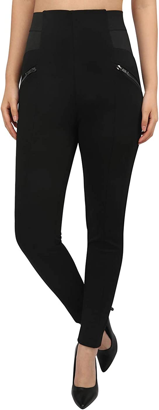 HDE Womens Plus Size Pants Skinny Ponte Knit Leggings Slimming Office Trousers