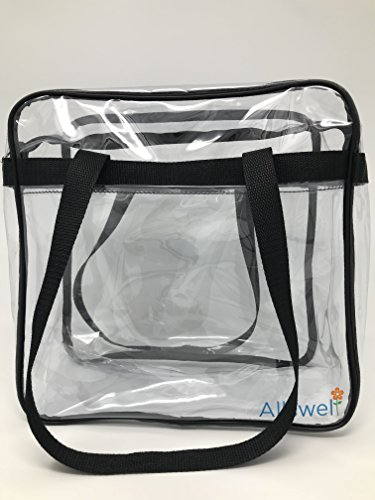 Allswell Clear Stadium Tote Bag 12''x12''x6''- Stadium Approved see through bag- Shoulder strap and front pouch- Professional Quality guaranteed by by Allswell