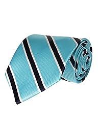 Mens Necktie Turquoise Blue with Pinstripe Fashion Tie