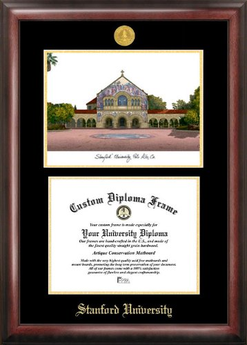(Campus Images Stanford University Gold embossed diploma frame lithograph)