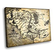 H5J1296 The Lord of the Rings Middle Earth Map Art 20x16 FRAMED CANVAS PRINT