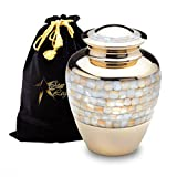 Star Legacy's Mother of Pearl - Gold Brass Metal Adult Cremation Urn for Human Ashes w Velvet Bag