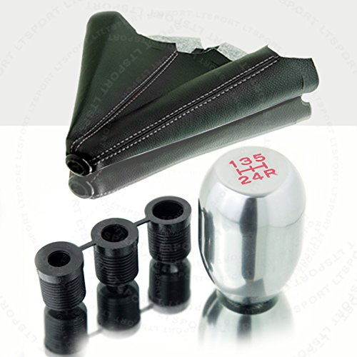 LT Sport SN#100000000762-0843-213 for Honda Civic Chrome 5 SPD Shift Knob + Boot Cover