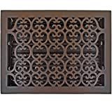 Hamilton Sinkler HVT-1014-BP Hamilton Sinkler Scroll Floor Vent with Damper, 10 by 14-Inch, Bronze Patina
