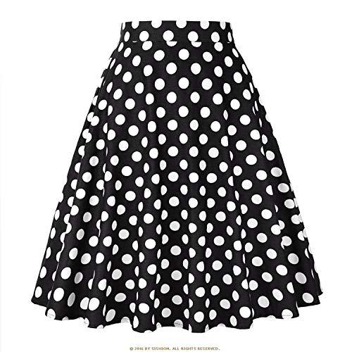 Vintage Skirts Womens 2019 High Waist Retro Women SkirtDaily Summer Skirt,BlackDot,XXL -