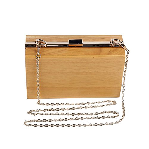 Evening Handbags Women Chain Wood Case Clutch Shoulder Bags Handle Flada with Hard Purse pTq0q