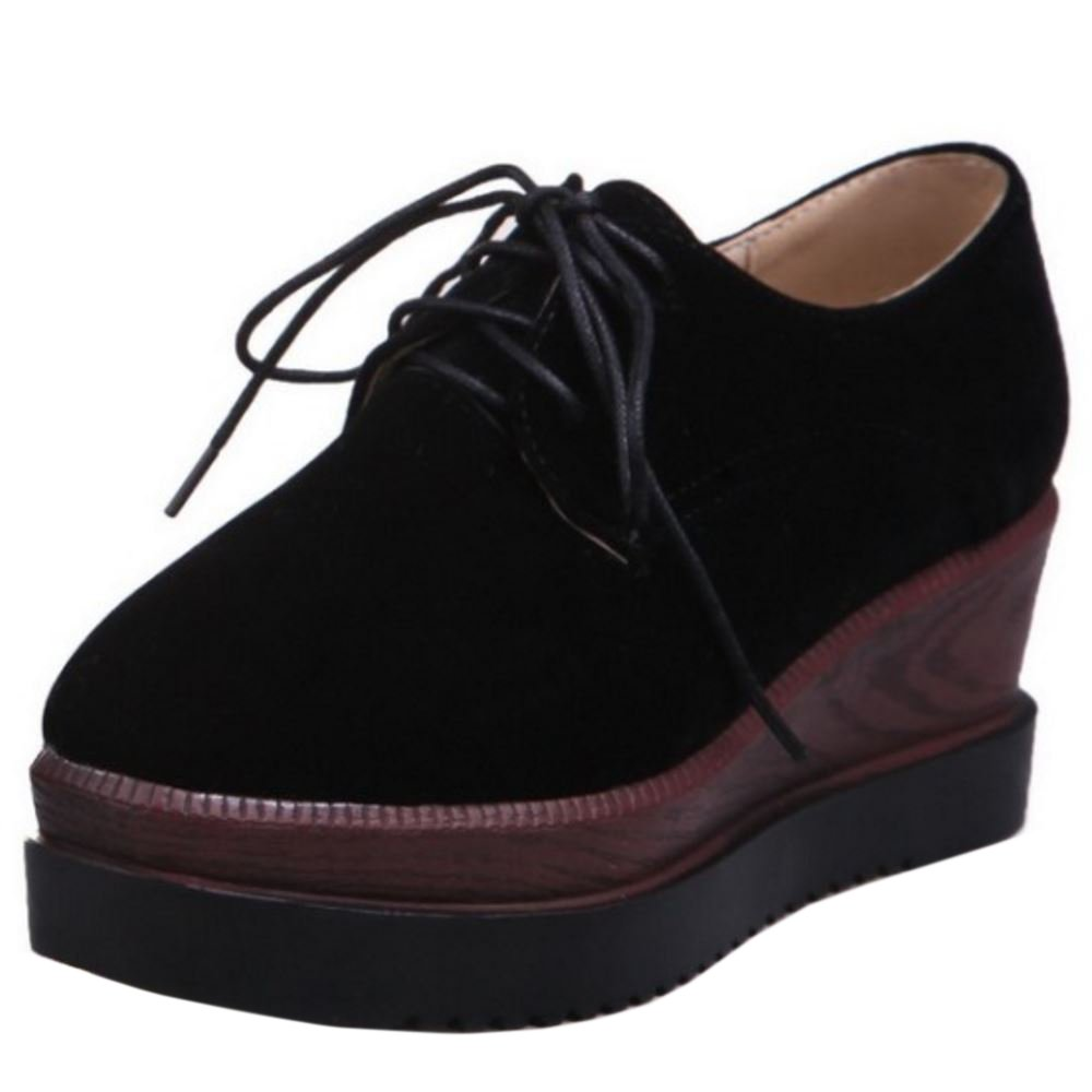 Zanpa Damen Mode Flatform Pumps Keilabsatz39 EU / 40 AS / 25 CM 3#black