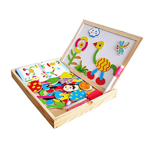Happy Cherry-Jeu de créativité -Puzzls Bloc Cartoon Mignon avec Boîte Planche à Dessin Magnetique-Jeu de Construction en Bois Pour Bébé Jeune Enfant Bambin