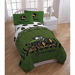 John Deere 4pc Twin Comforter and Sheet Set Bedding Collection, Green Tractor Big Tires