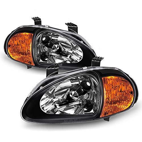 ACANII - For 2in1 Black 1993-1997 Honda Civic Del Sol Headlights w/Corner Signal Lamps Driver & Passenger Side 94 95 96