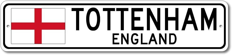 Tottenham, England - England Flag Street Sign - Metal Novelty Sign, Personalized Gift Sign, Man Cave Street Sign, England City Sign, Restaurant or Pub Sign, Made in USA - 4x18 inches