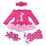 Baby Girls' Newborn Outfit 4PCS Bodysuit 1st Birthday Tutu Headband Shoe Leggings, L