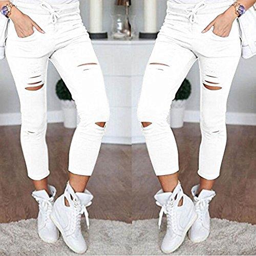 Haute Skinny Mince Stretch Pantalons Leggings Sportif Slim Cigare Femmes Crayon Minetom Taille Dchirs Blanc Yd1RqAR