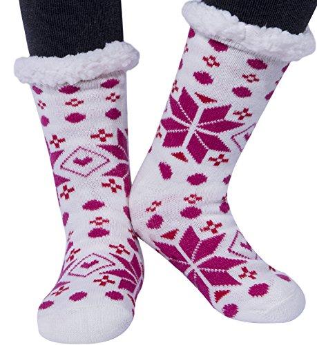 Lining Slip (Amandir Womens Slipper Socks, Fleece Lining Soft Socks, Animal Non Slip Slippers Socks)