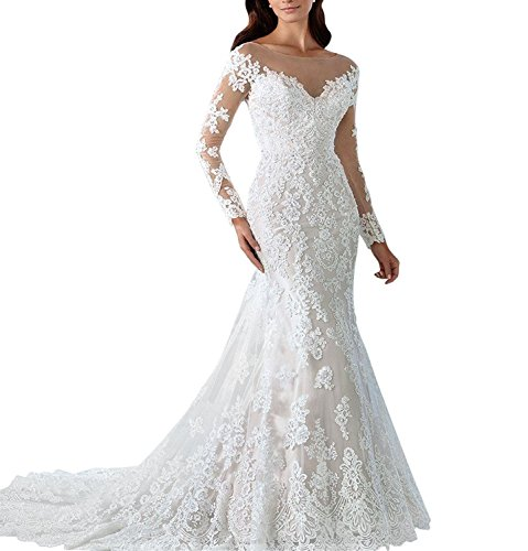 Dannifore Women's Floral Lace Bridal Gown Mermaid Long Wedding Dresses For Bride