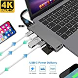 USB Adapter Compatible for Macbook Pro - 7 in 1 Adaptor - Thunderbolt Hub - HDMI 4k - 2x USB 3.0 - Type C 5 GBPS - SD and Micro SD Memory Card Slots - USB C Hub - All Your Apple Mac book Needs In 1