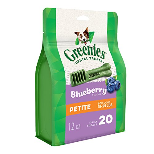 Greenies Petite Dog Dental Chews Blueberry Flavor, 12 Oz. Pack (20 Treats), A Great Holiday Dog Stocking Stuffer